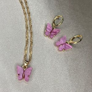 Hot pink butterfly necklace and earring set